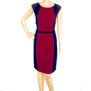 Tahari ASL Burgundy Colorblock Sheath Dress